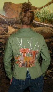 hand applique elephants natural clothing wearable art