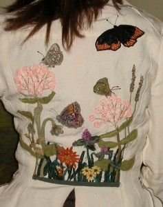Embroidered Butterflies and Flowers Wearable Art by Tara Lynn Full Back View
