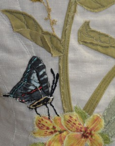 Embroidered Butterfly and Flower Wearable Art by Tara Lynn
