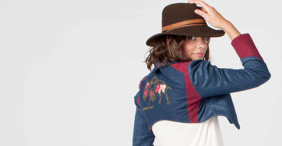 Bison Bolero Hemp and Cotton Denim Twill Tara Lynn eco-fashion wearable art