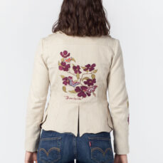 Embroidered Butterfly Jacket Ecru Hemp Cotton Tara Lynn Natural Clothing Eco Fashion Wearable Art