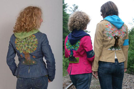 Earth Bitch Jackets Natural and recycled clothing hooded jacket wearable art