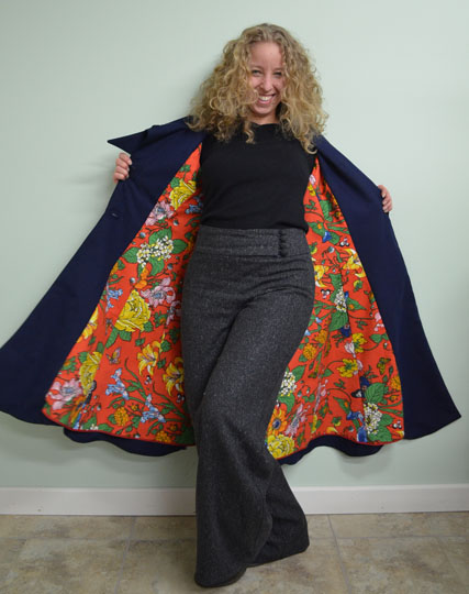 Navy Coat Hemp Cotton Wearable Art Embroidered Butterfly Coat by Tara Lynn