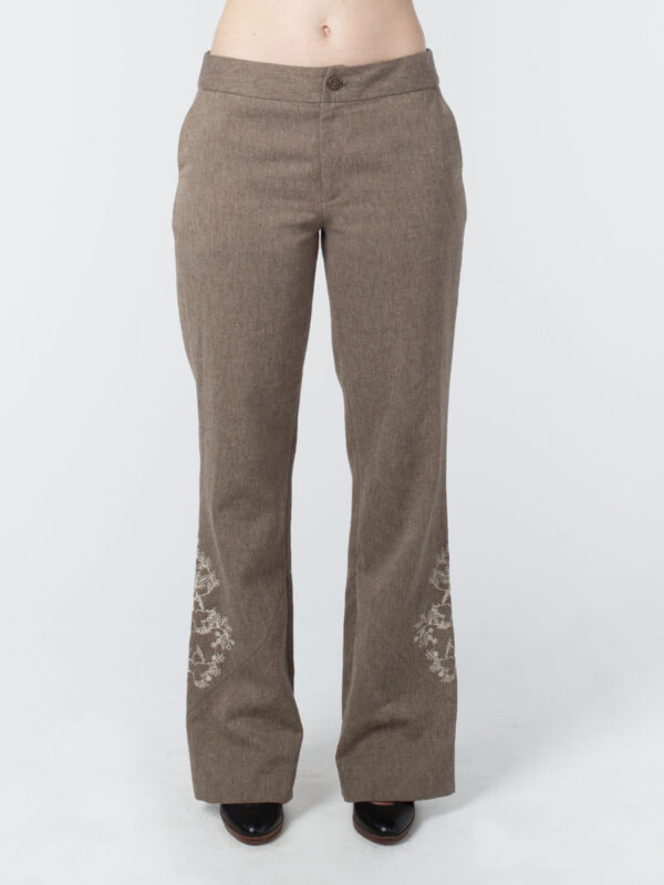 Embroidered Hip Hugger Pant Back Hemp Cotton Tara Lynn Hemp Pant