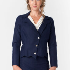 Womens Navy Suit Jacket & Skirt Front Hemp cottonTara Lynn