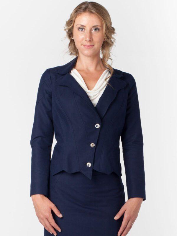 Womens Navy Suit Jacket & Skirt Front Hemp cottonTara Lynn